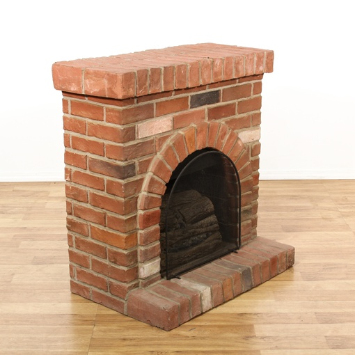 Faux Brick Fireplace Heater Loveseat Vintage Furniture