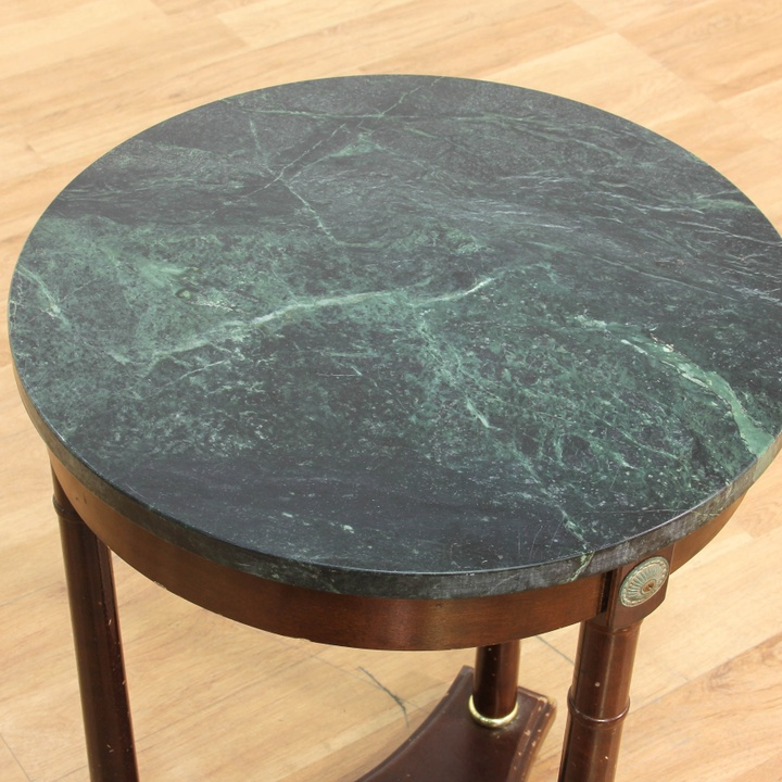 Italian Green Marble Top Round End Table Loveseat