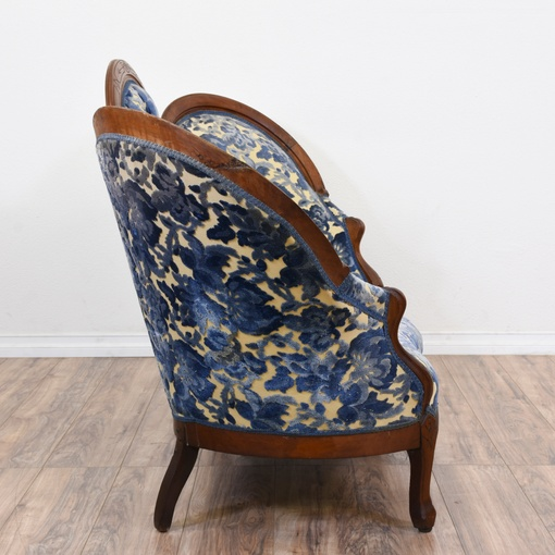 Antique Victorian Carved Floral Parlor Sofa Loveseat