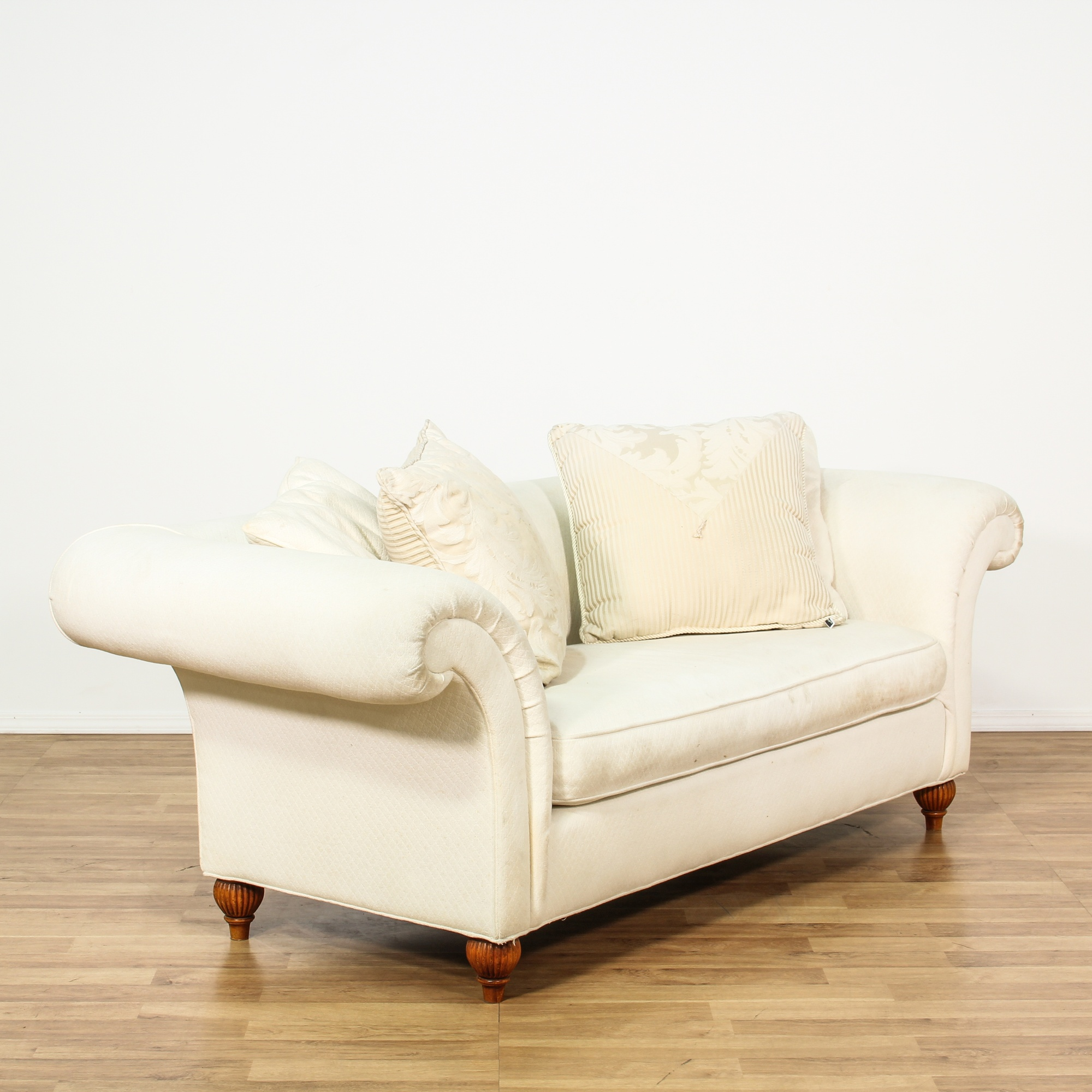 Contemporary Ivory Upholstered Loveseat Sofa 2 Loveseat Vintage Furniture San Diego Los Angeles