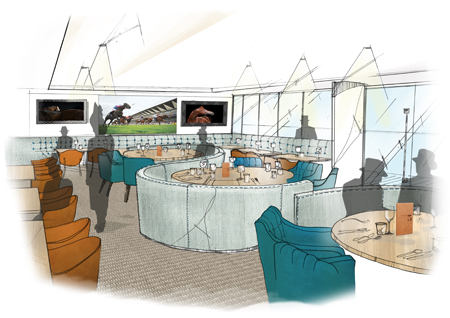 Artists impression of On 5 restaurant, Ascot racecourse