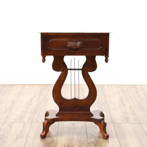 Victorian Cherry Harp Base Marble Top End Table