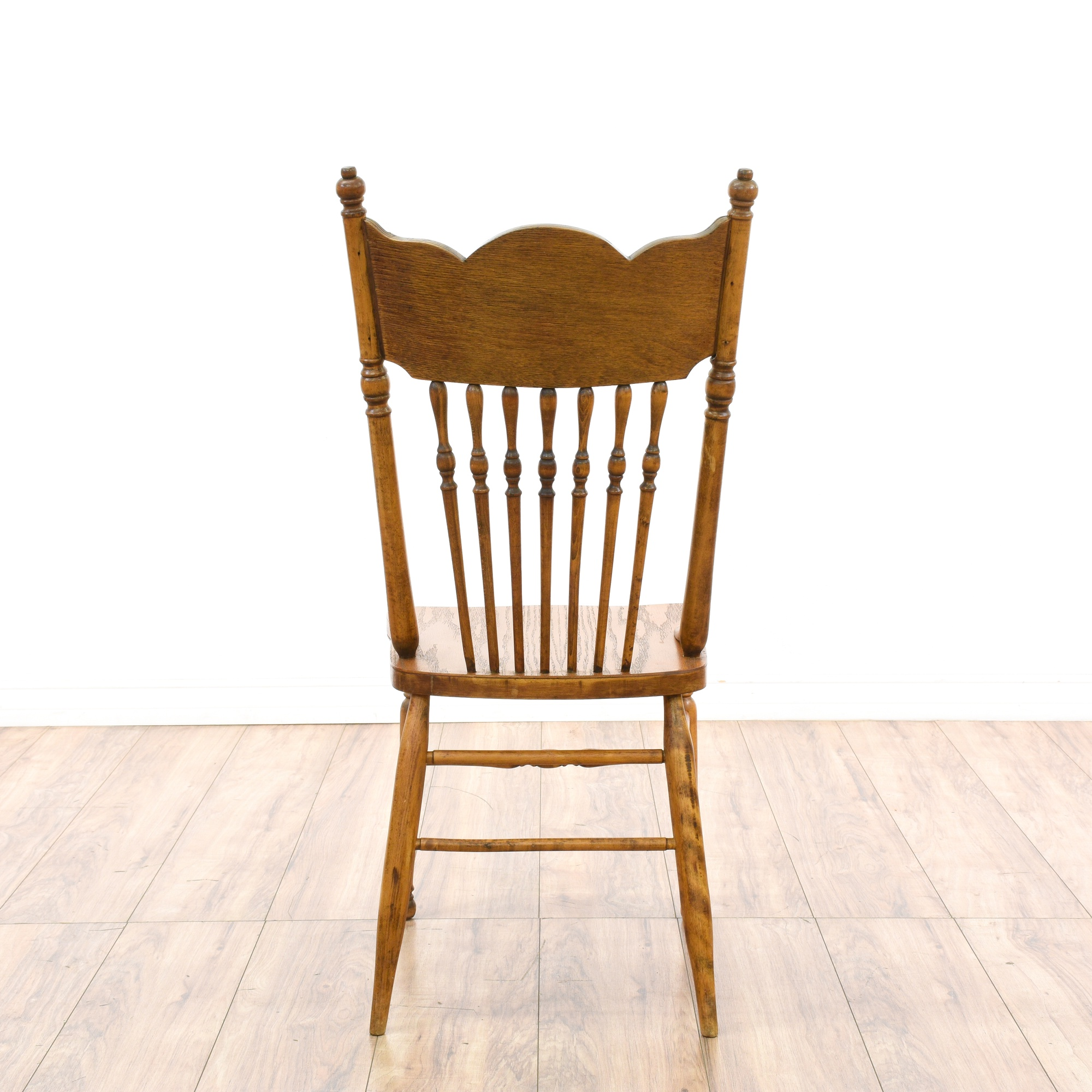 Oak Spindle Dining Chairs ~ Set of spindle press back oak dining chairs loveseat