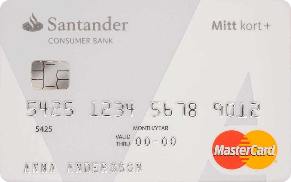 Mitt kort+ Upp till 60 dagars räntefrihet 0 % valutapåslag för köp utomlands En av marknadens bästa kompletterande reseförsäkringar Med ett kort från Santander Consumer Bank får du med återbäringsprogrammet pengar tillbaka när du handlar online.