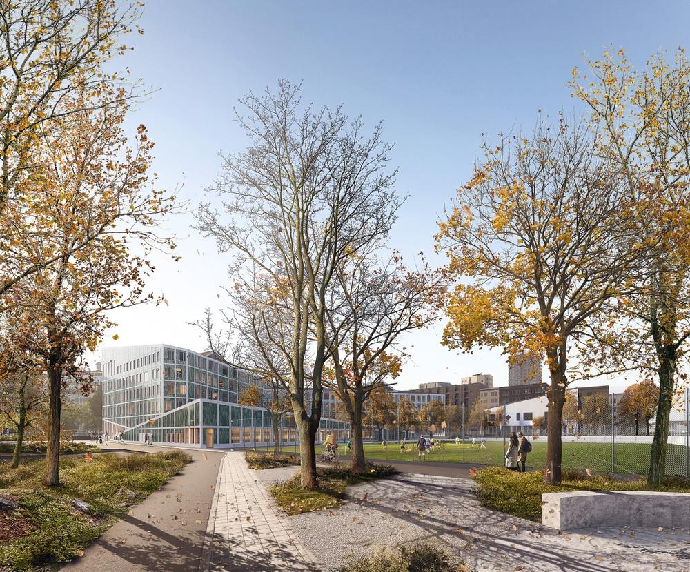 Skissbild av skolan i Hagastaden.  Arkitekt: Arkitema.