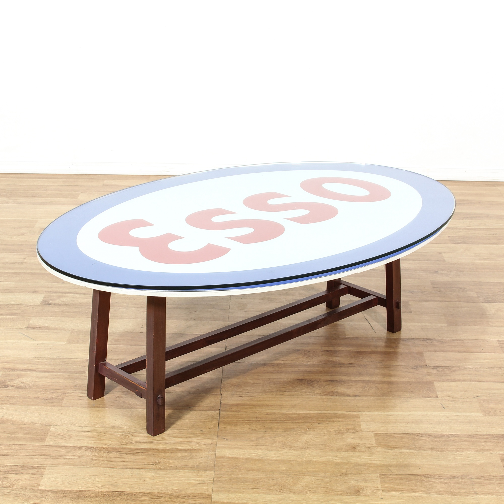 Oval Esso Sign Glass Top Coffee Table Loveseat Vintage Furniture San Diego Los Angeles