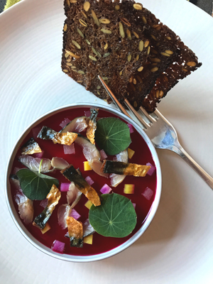 Smoked mackeral pate with horseradish, local beetroot and apple with crispy pumpernickel bread