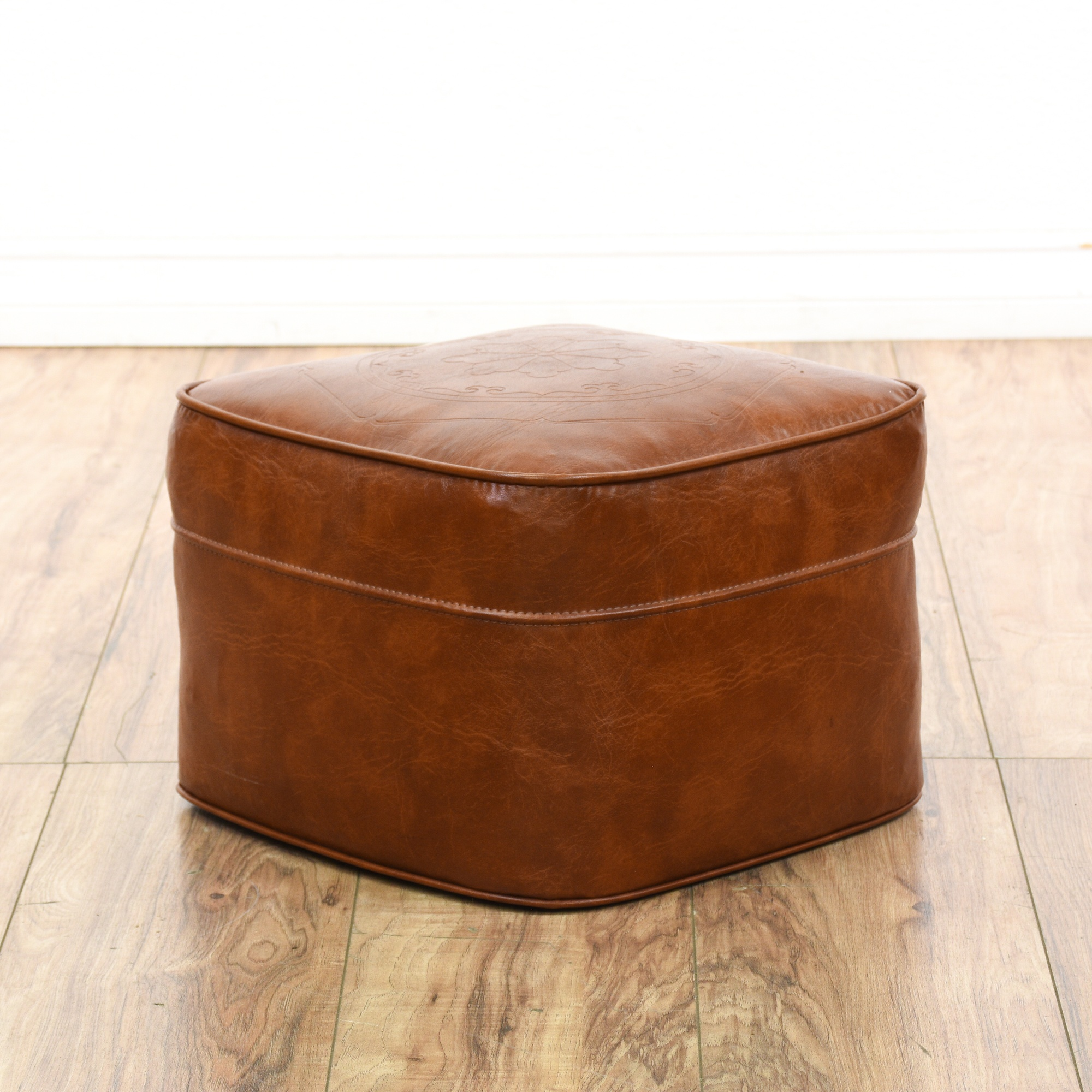 Tan Faux Leather Vinyl Footstool Hassock Ottoman