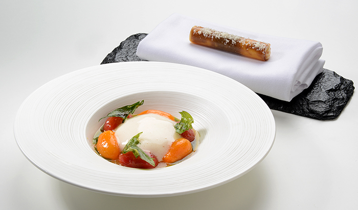 Northcote's Isle of Wight tomatoes, lovage and St James' sheep's cheese