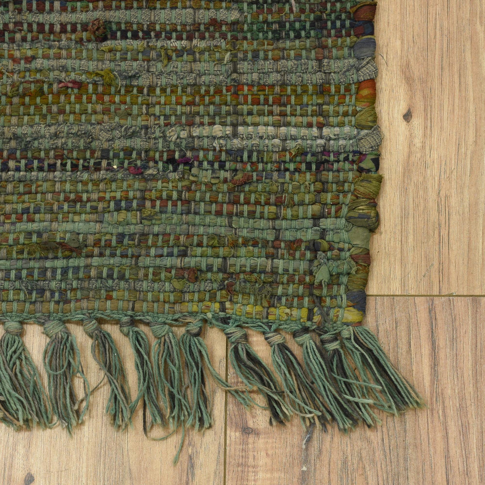 Rag Rug Large: Large Woven Blue Green Rag Rug