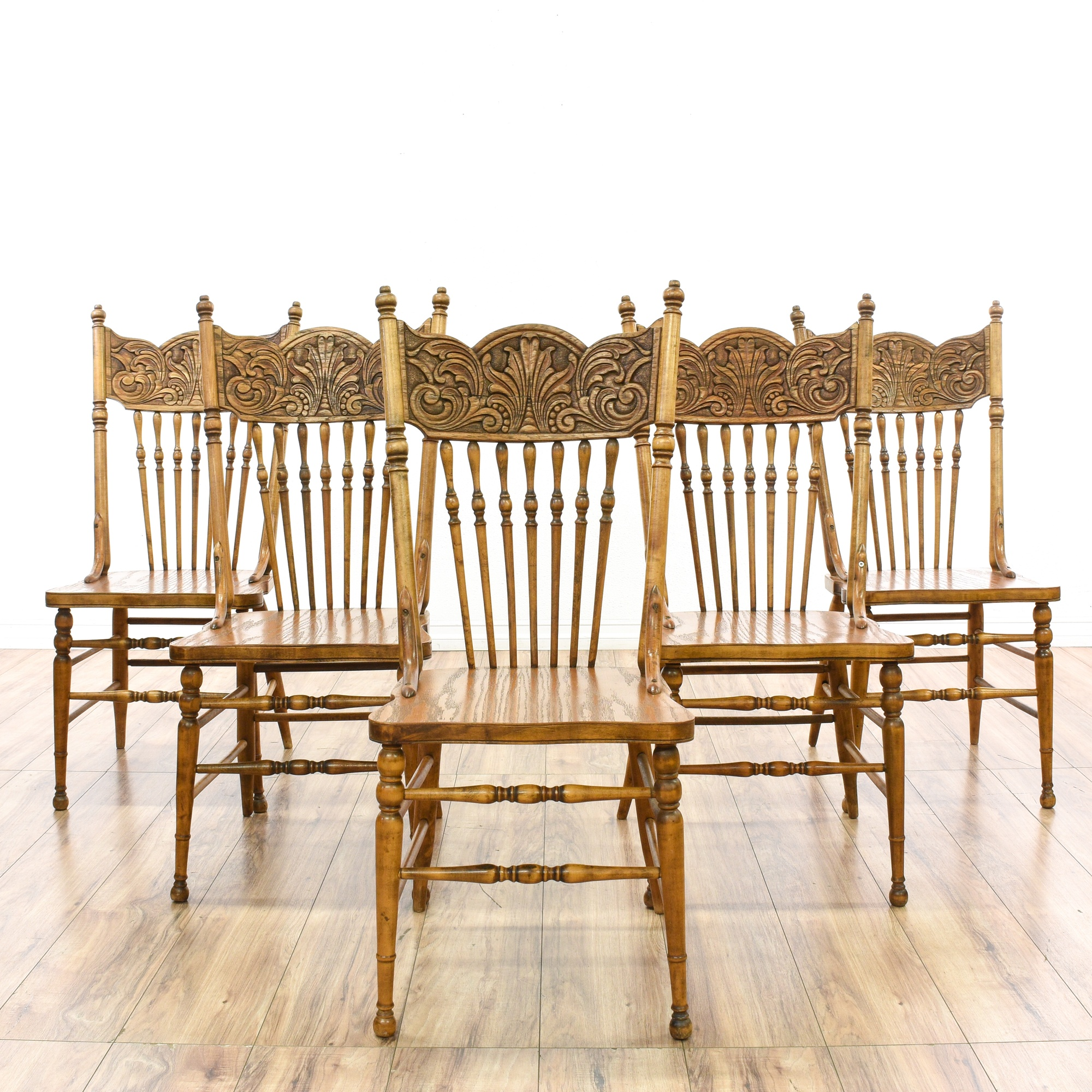 Dining Room Chairs San Diego: Set Of 5 Spindle Press Back Oak Dining Chairs