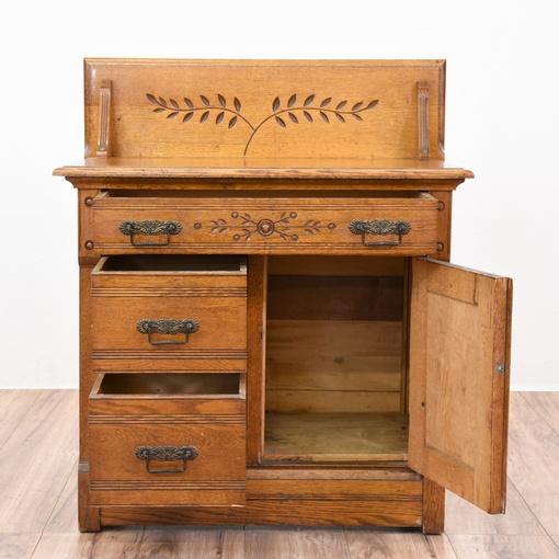 Carved Antique Oak Eastlake Washstand Buffet