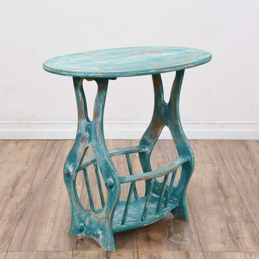 Oval Light Blue Shabby Chic End Table w/ Rack