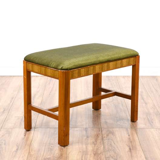 Art Deco Inspired Green Upholstered Stool