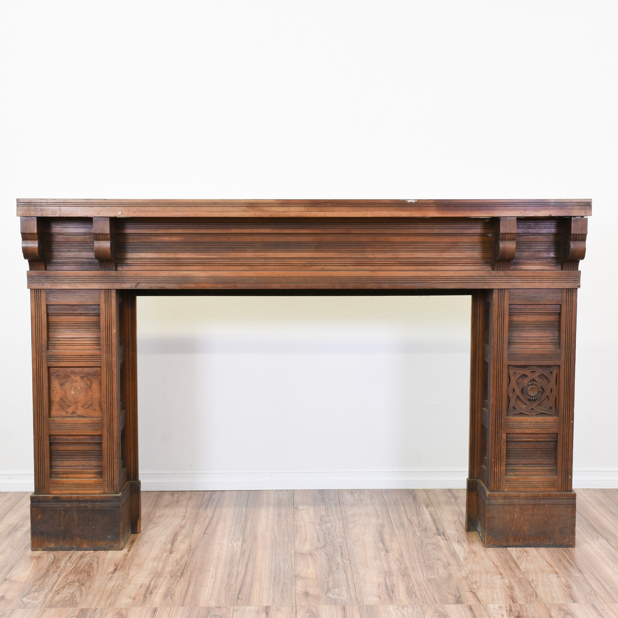 antique eastlake carved wood fireplace mantel loveseat vintage