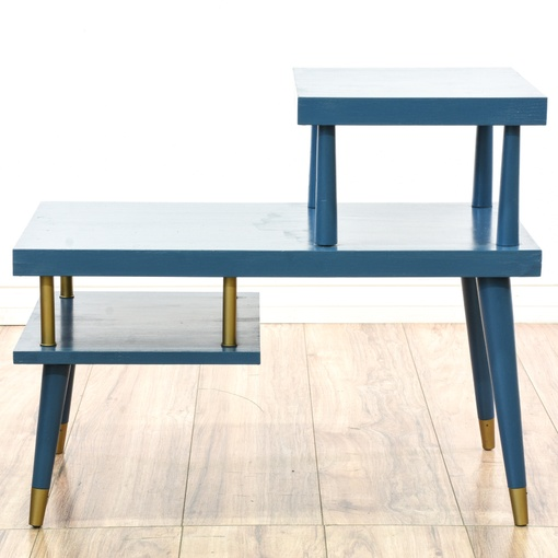 Mid Century Modern Blue Painted Step End Table Loveseat