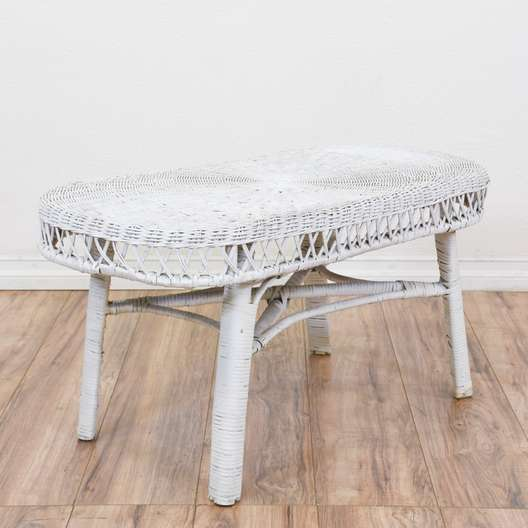 Oval White Wicker Coffee Table