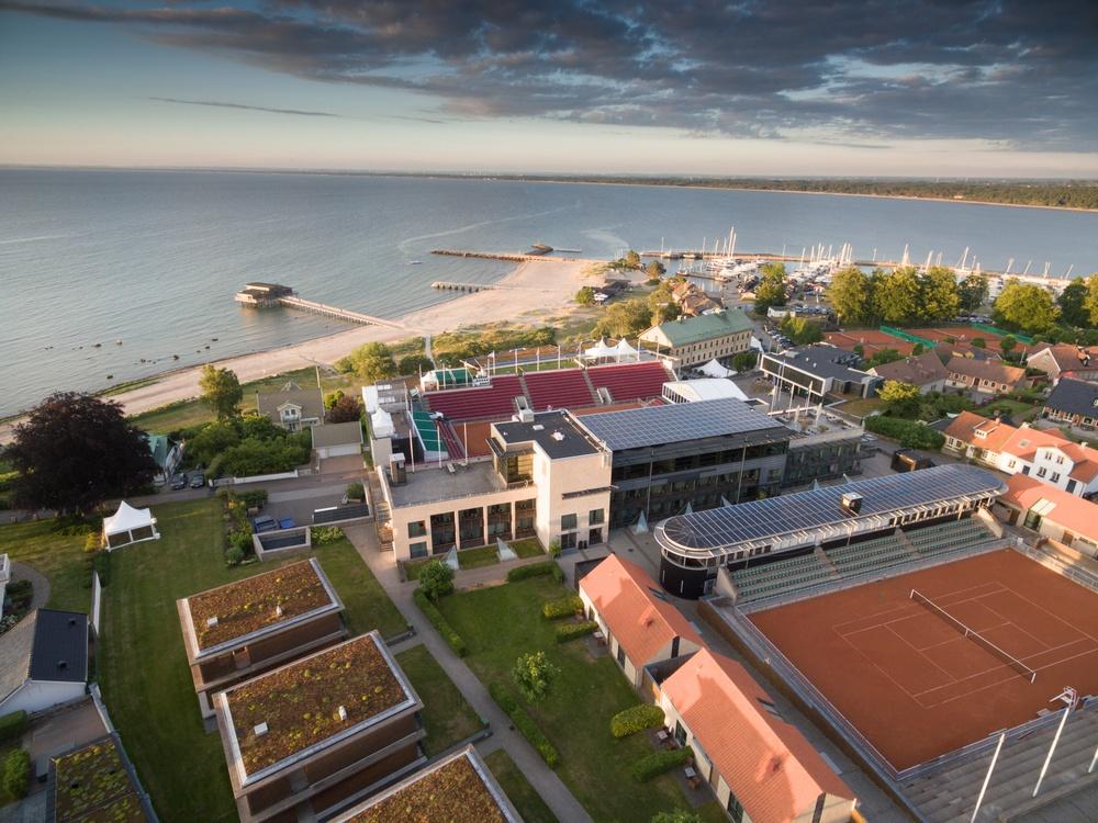 Flygbild över Hotel Skansens hustak