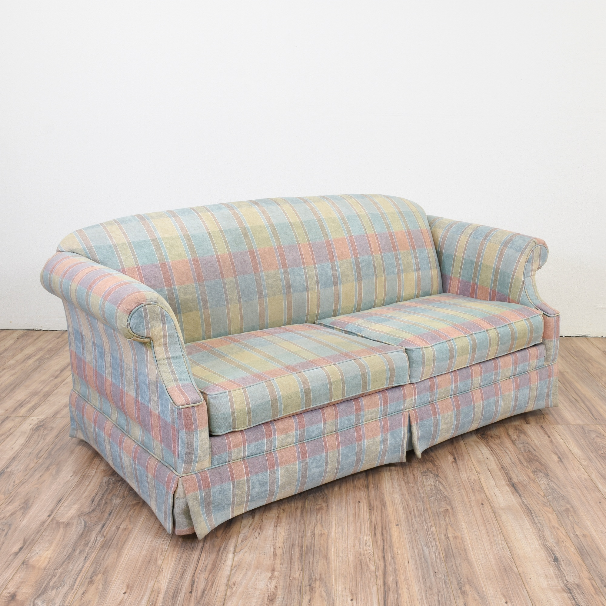 "Hammary"" Retro Plaid Sleeper Sofa"