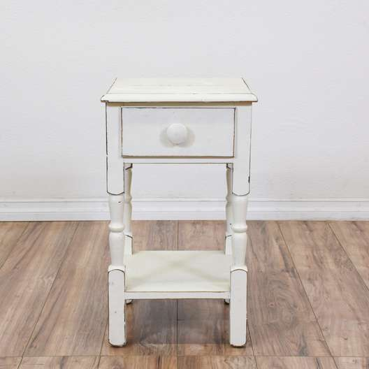 Shabby Chic White Carved Nightstand