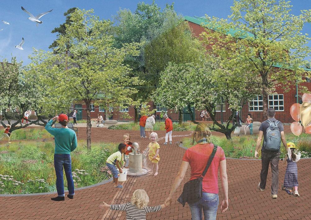 Vy från ett framtida torg i Sege Park. Illustration: Tyréns