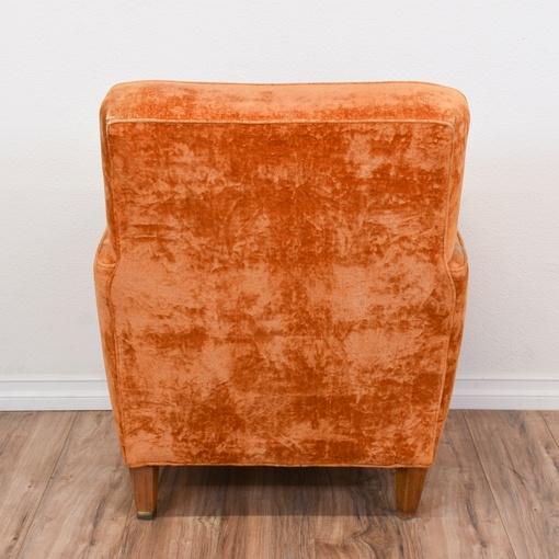 Orange Velvet Mid Century Modern Chair Amp Ottoman
