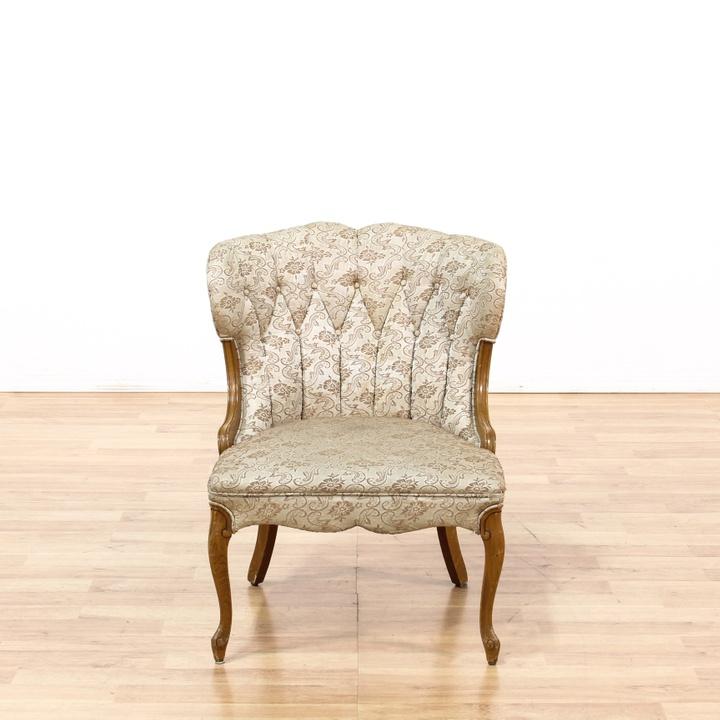 Victorian Upholstered Damask Channelback Chair Loveseat