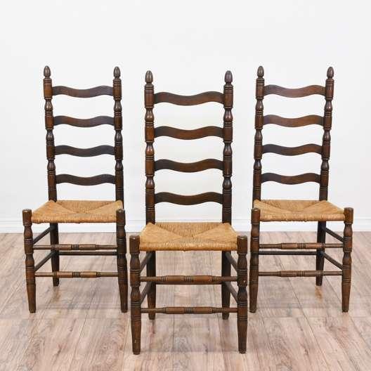 Set of 3 Ladder Back Chairs w/ Rush Seats