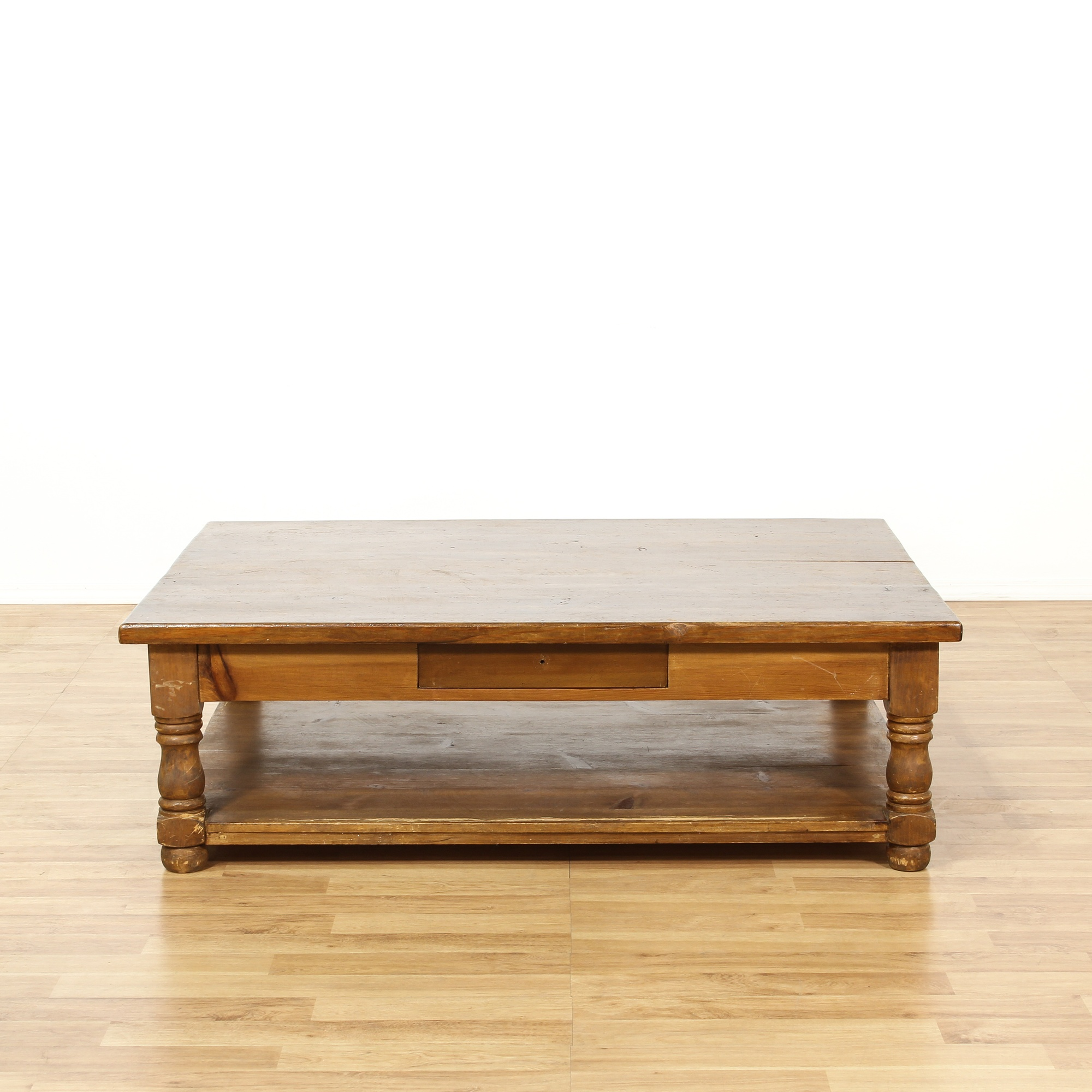 Rustic Pine Wood Coffee Table: Large Rustic Pine Tiered Coffee Table