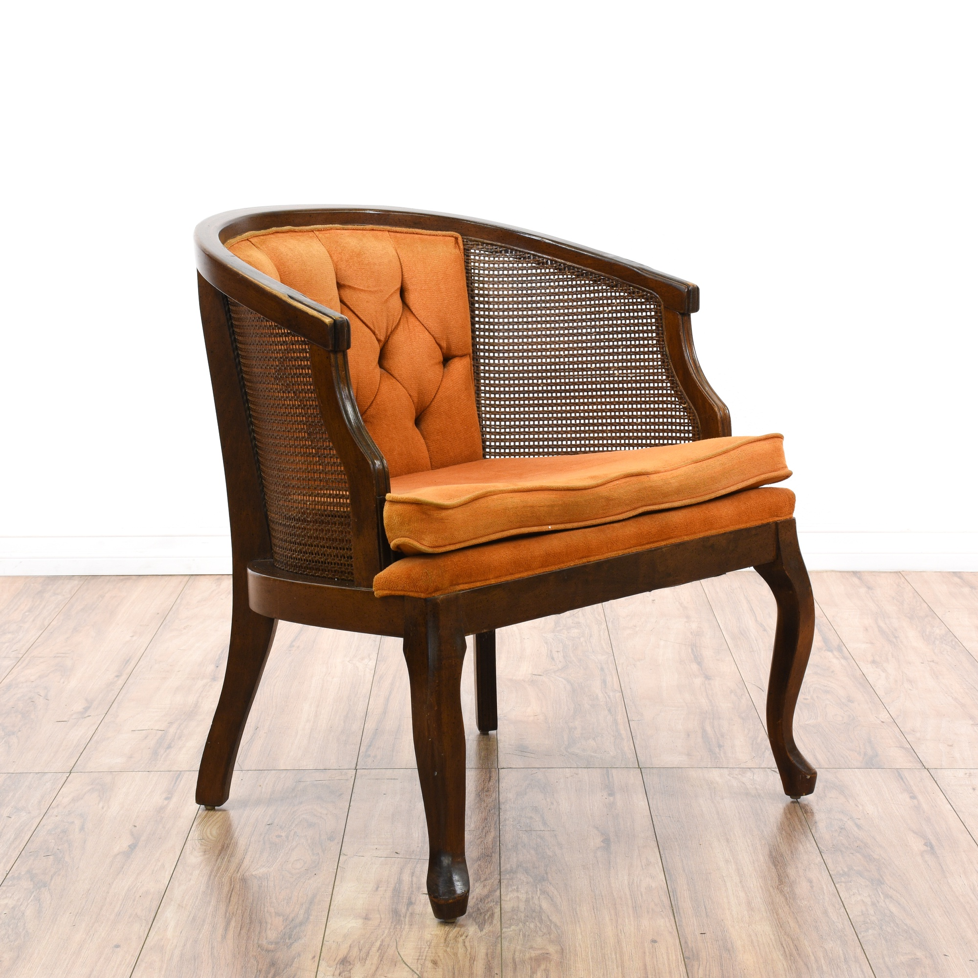 Burnt Orange Tufted Cane Barrel Back Accent Chair