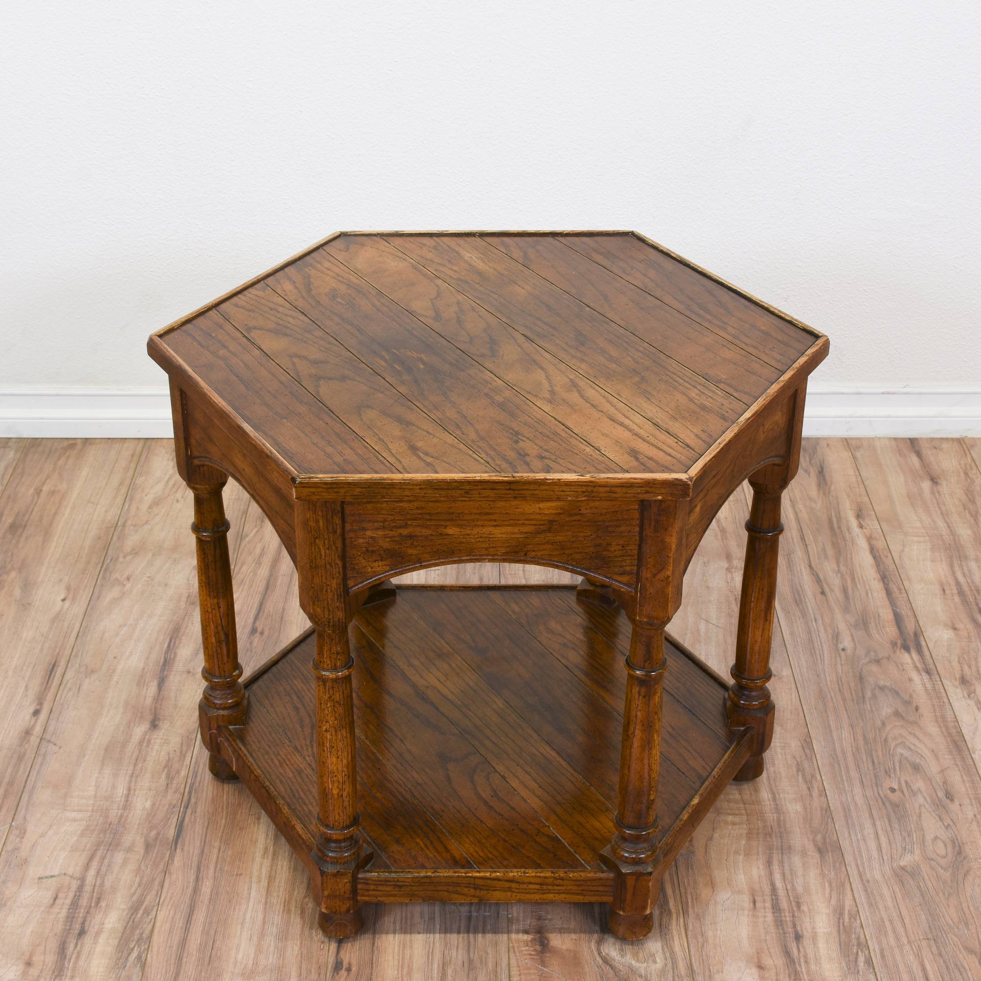 Oak Hexagon 2 Tiered End Table Loveseat Vintage