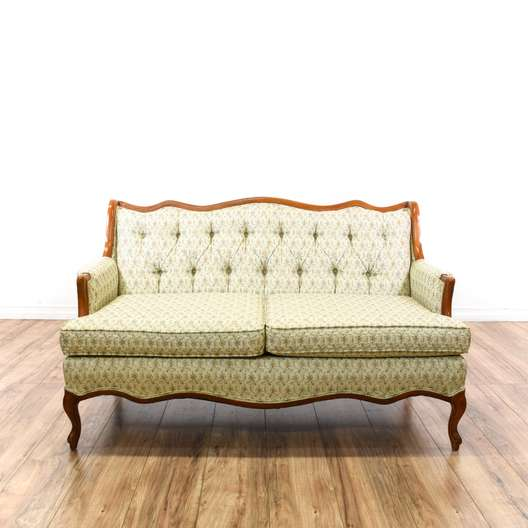 French Provincial Light Green Floral Loveseat Sofa