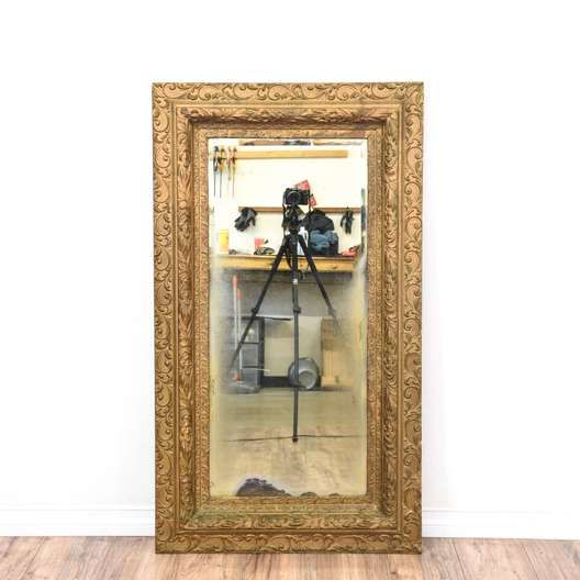 Ornate Large Gold Antique Beveled Mirror