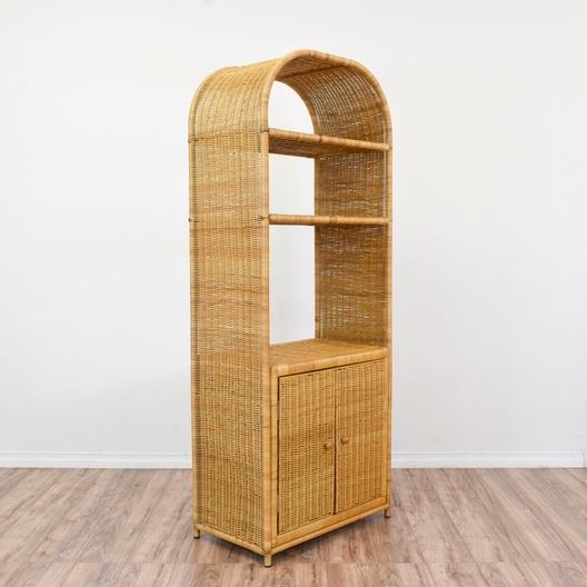 Tropical Woven Wicker Curved Top Bookshelf