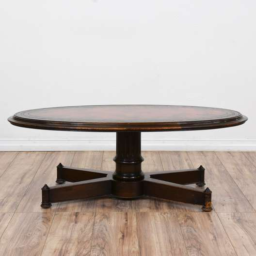 Oval Pedestal Base Coffee Table