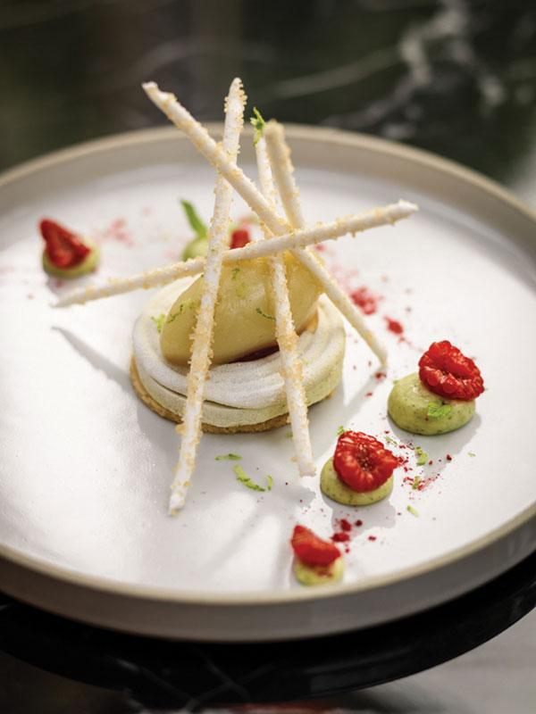 Raspberry mojito (lemon mint curd, mojito sorbet, raspberry and demerara sugar meringue)