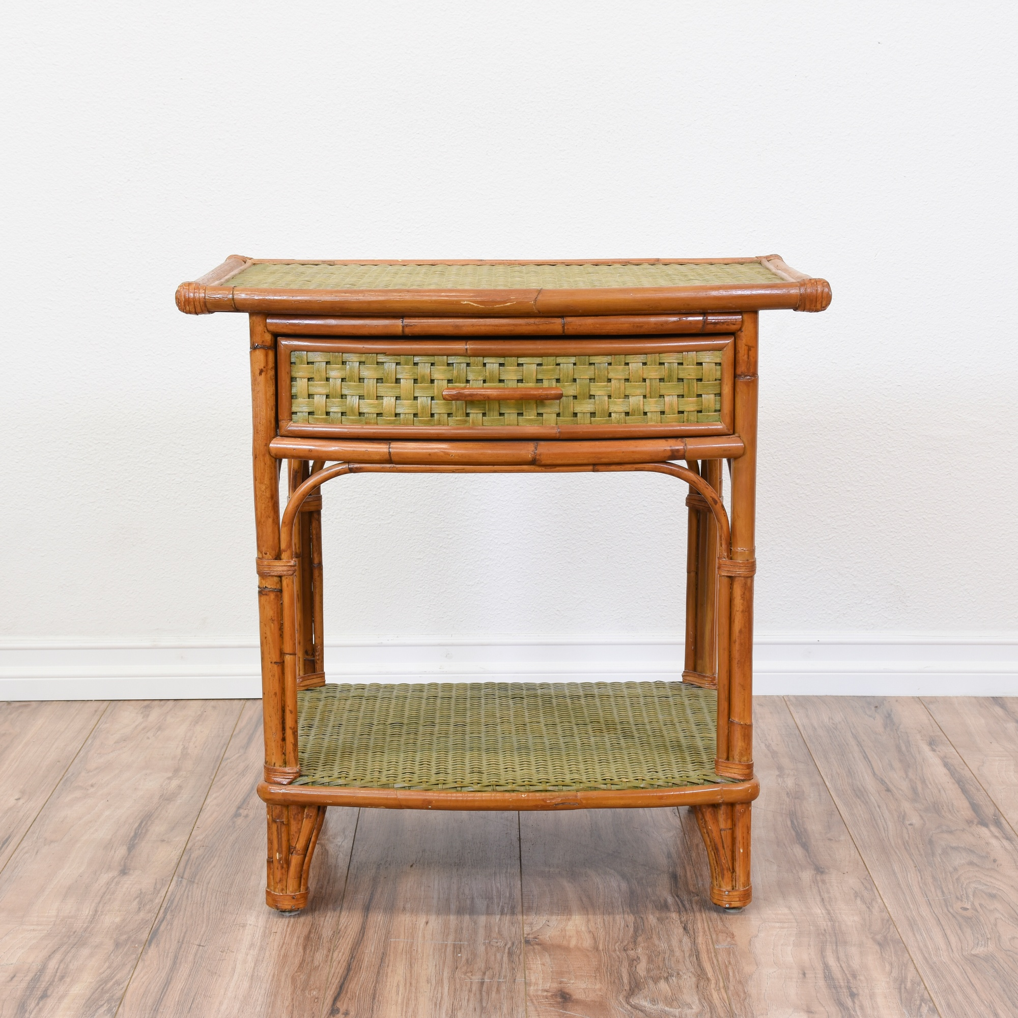 Tropical Bamboo Rattan Woven Nightstand Loveseat Online Auctions San Diego