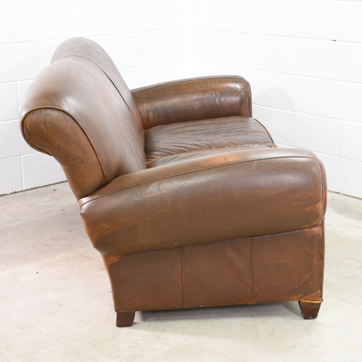 Distressed Brown Leather Loveseat Sofa Loveseat Vintage