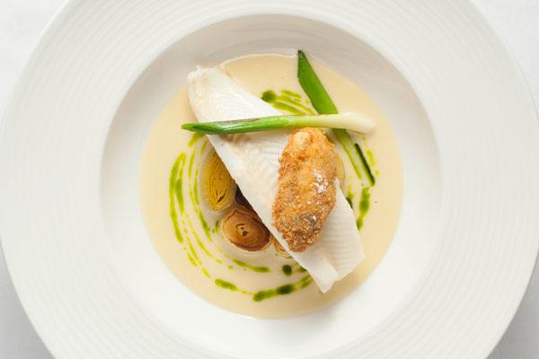 Lemon sole, oyster, smoked leeks and tarragon