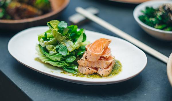 Salmon teriyaki, wasabi ponzu, watercress, butter lettuce