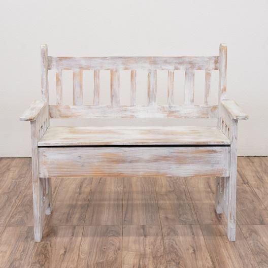 White Shabby Chic Storage Bench Loveseat Vintage Furniture San Go