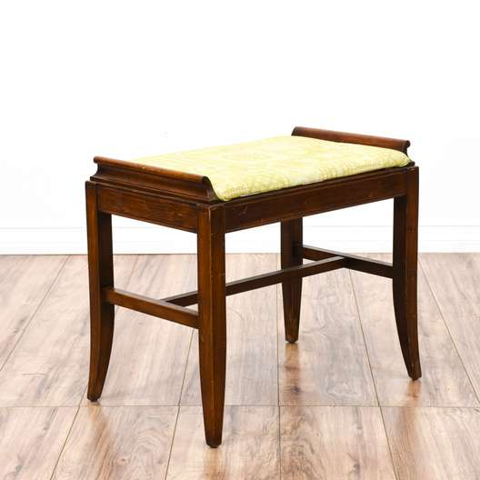 Yellow Floral Simple Curved Leg Bench