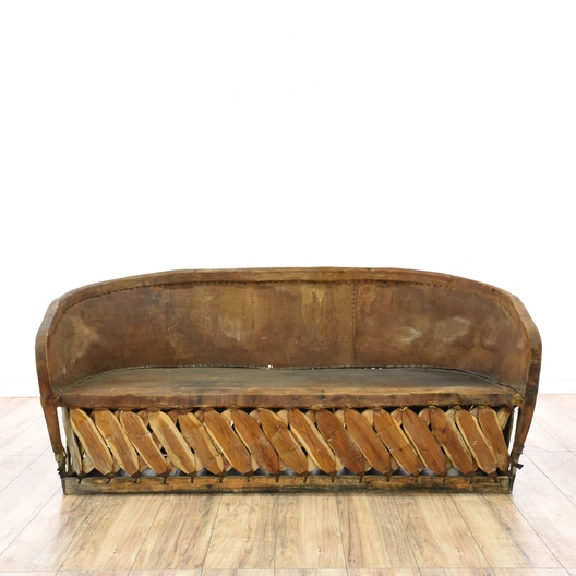 Mexican Equipale Leather Amp Wood Long Sofa Loveseat