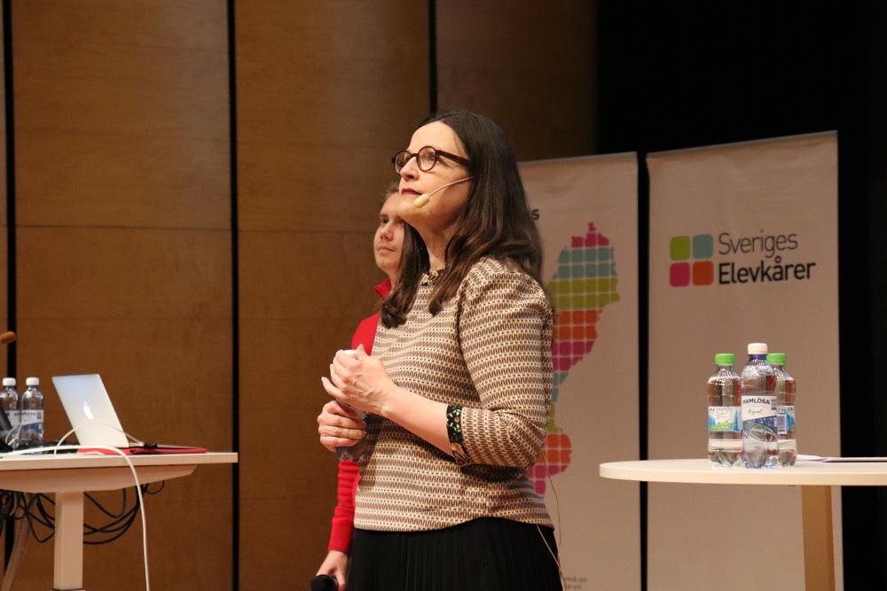 Utbildningsminister Anna Ekström, dåvarande gymnasieminister, på Upptakt 2018.
