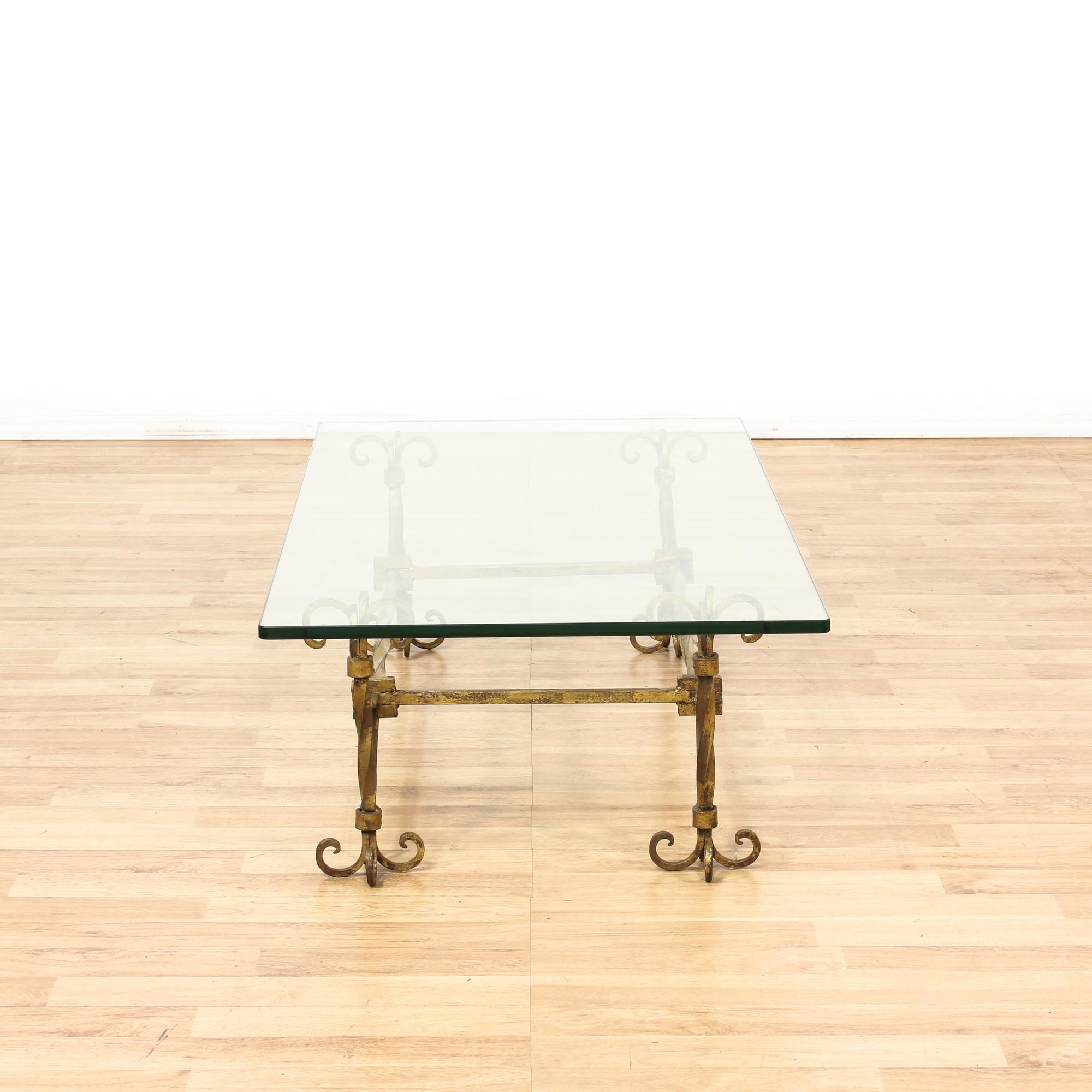 Vintage Metal Coffee Table Furniture: Glass Top W/ Gold Metal Base Coffee Table