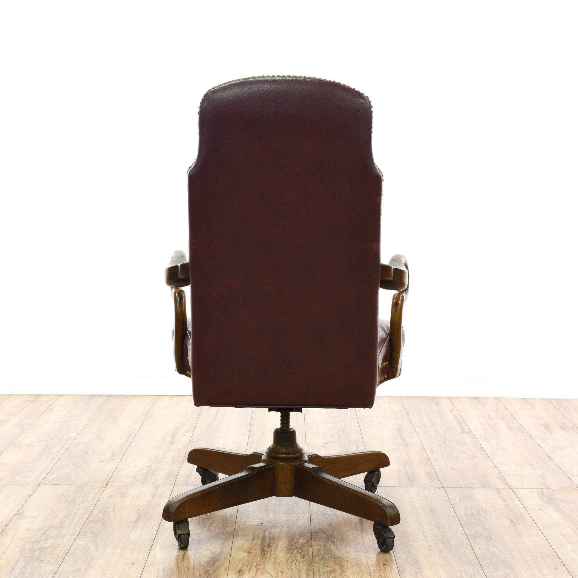 """""""Ethan Allen"""" Wine Red Leather fice Chair"""