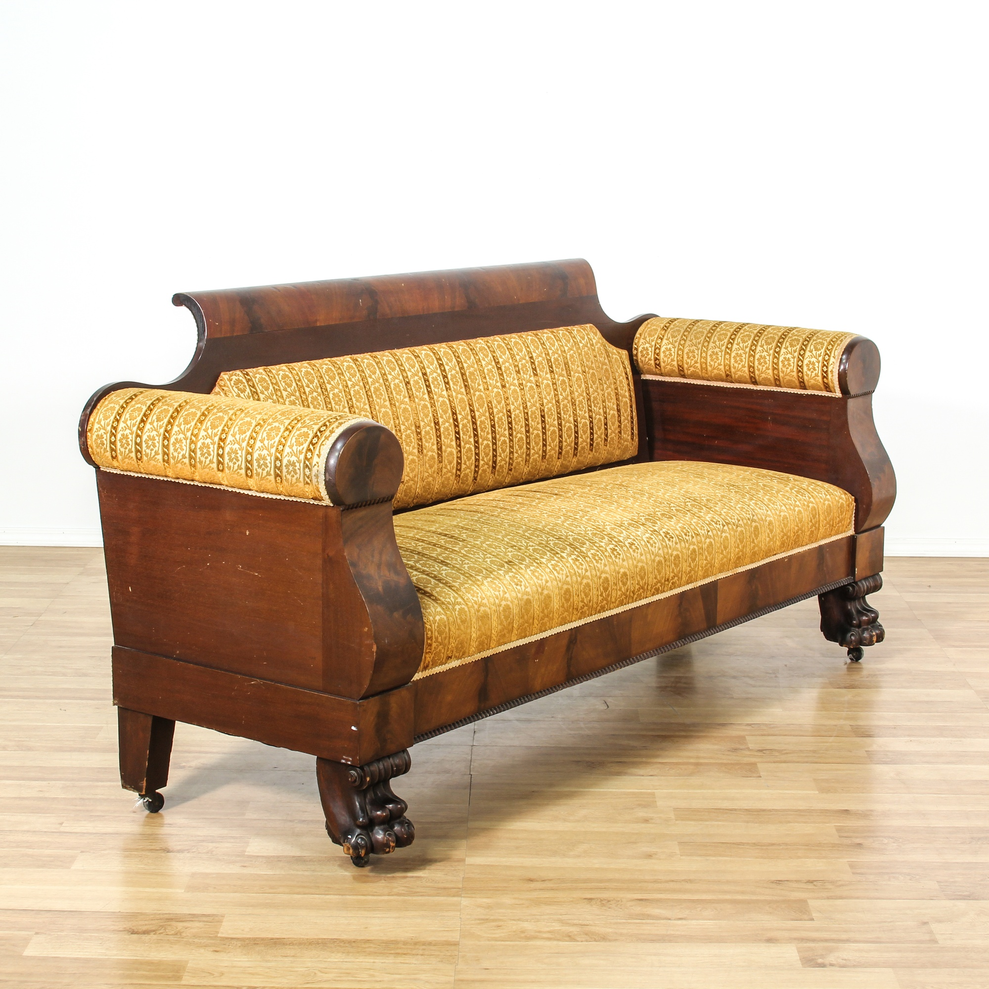 American Empire Carved Mahogany Gold Floral Sofa Loveseat Vintage Furniture San Diego Los