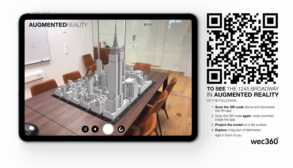 "View the wec360°-project ""1245 Broadway"" in Augmented Reality, using the instructions in the image."