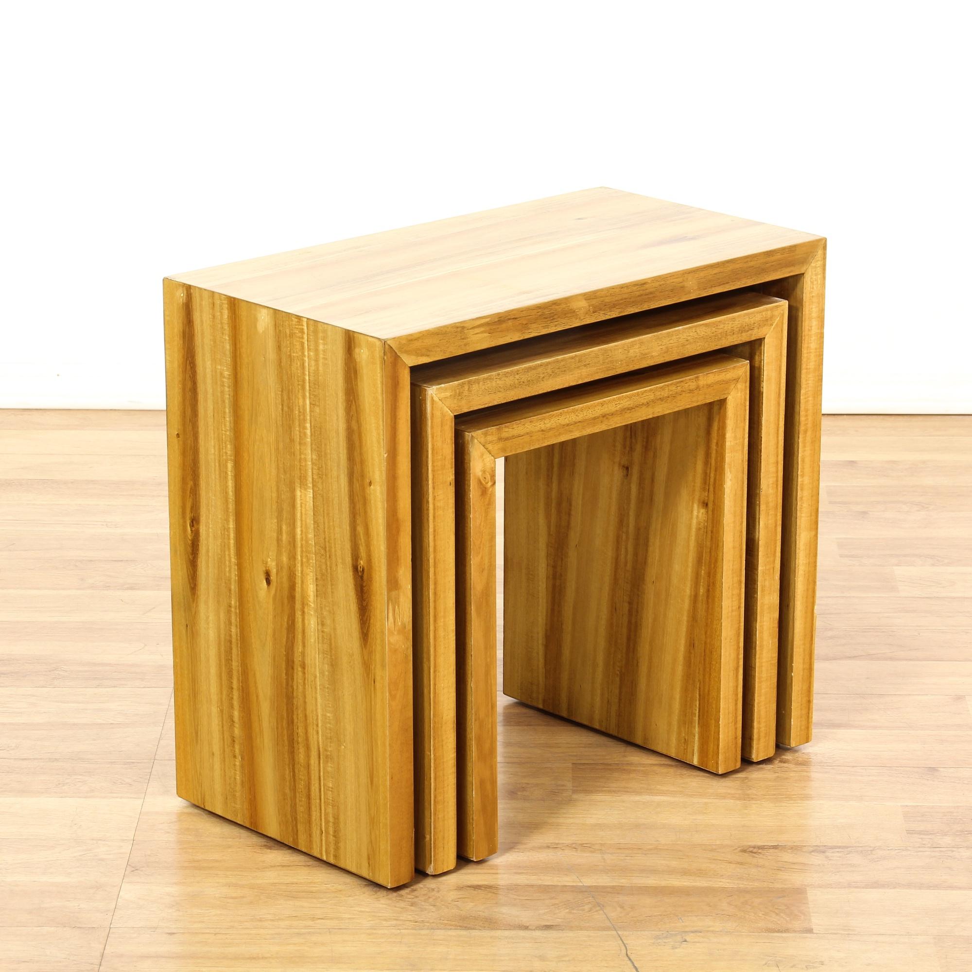 Set Of 3 Modern Ash Wood Nesting Tables Loveseat Vintage