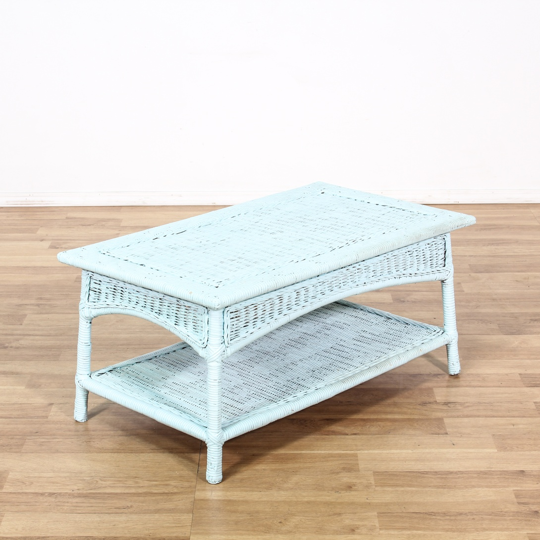 Chic Rattan Coffee Table: Shabby Chic Pale Blue Wicker Coffee Table